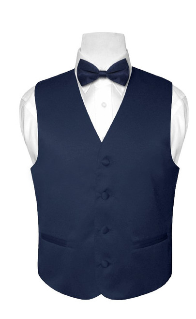 Boys Dress Vest Bow Tie Solid Navy Blue Color BowTie Set