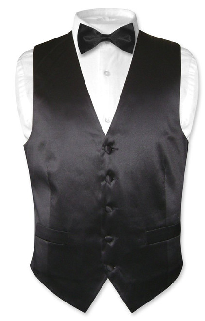 Biagio Mens Silk Dress Vest & Bow Tie Solid Black BowTie Set