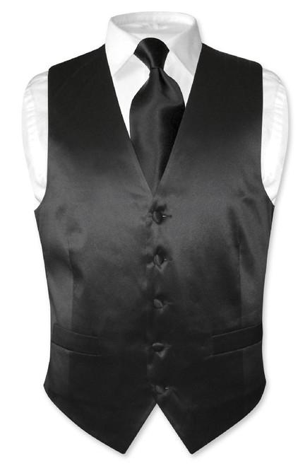 Biagio Mens Silk Dress Vest & NeckTie Solid Black Color Neck Tie Set