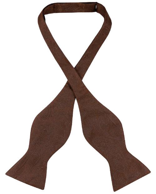 Vesuvio Napoli Self Tie Bow Tie Dark Brown Paisley Mens BowTie