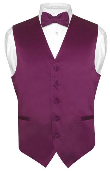Mens Dress Vest & BowTie Solid Eggplant Purple Color Bow Tie Set