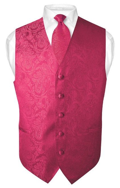 Mens Paisley Design Dress Vest & NeckTie Hot Pink Fuchsia Neck Tie Set