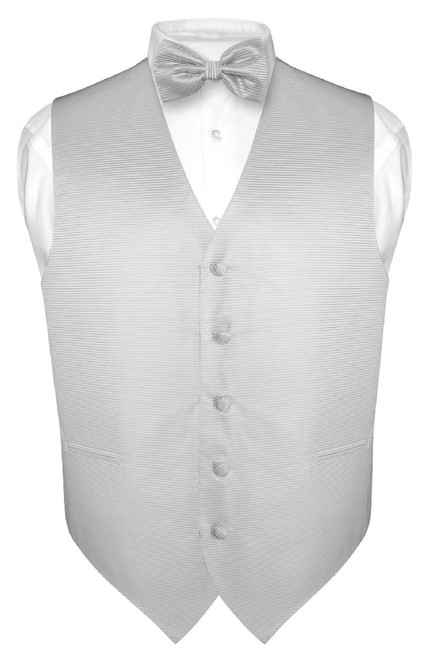 Mens Dress Vest BowTie Silver Grey Woven Bow Tie Horizontal Stripe Set