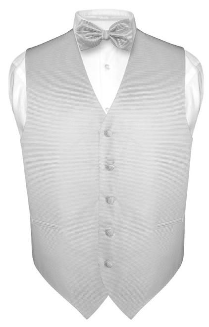 Mens Dress Vest BowTie Silver Grey Woven Bow Tie Horizontal Stripe Set