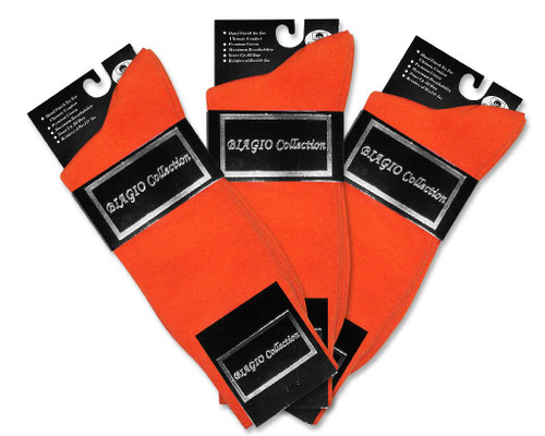 Orange Cotton Dress Socks   3 Pair Mens Biagio Cotton Dress Socks