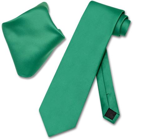 Vesuvio Napoli Emerald Green NeckTie Handkerchief Mens Neck Tie Set