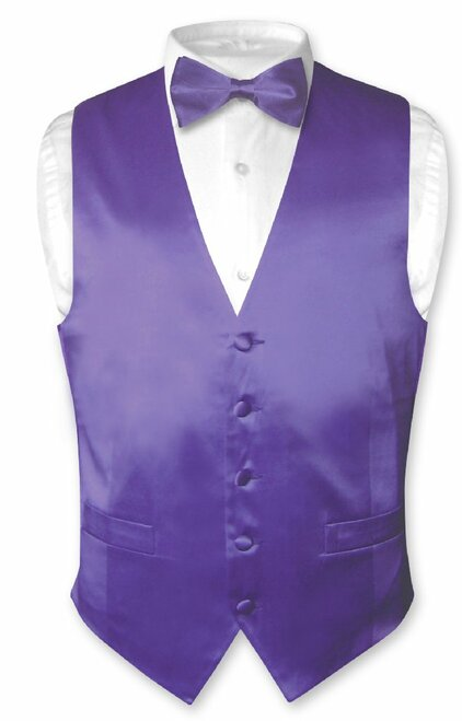 Purple Vest | Purple BowTie | Silk Solid Color Vest Bow Tie Set