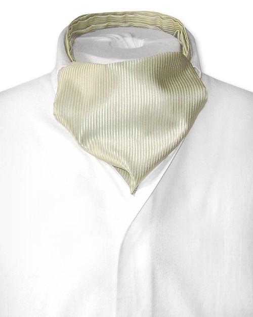 Olive Green Cravat | Solid Color Ribbed Ascot Cravat Mens Tie