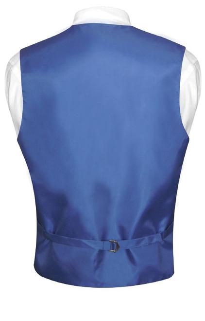 Mens Dress Vest & NeckTie Solid Royal Blue Color Neck Tie Set