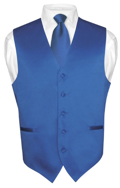 Mens Dress Vest & NeckTie Solid Royal Blue Color Neck Tie Set