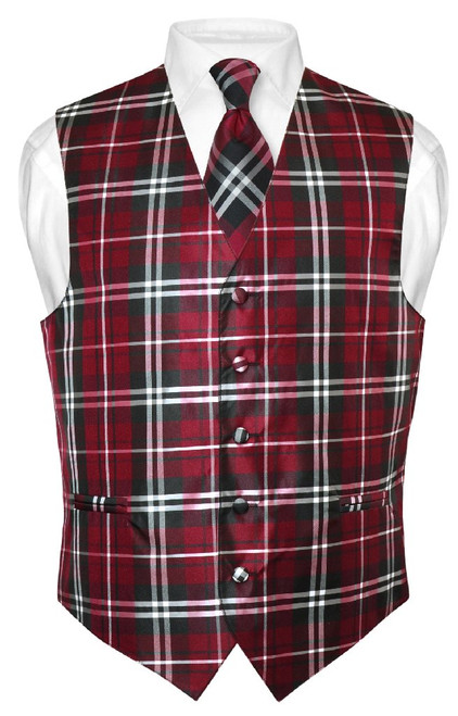 Mens Plaid Design Dress Vest NeckTie Black Burgundy White Neck Tie Set