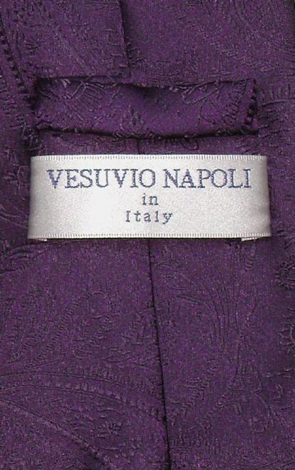 Vesuvio Napoli NeckTie Dark Purple Color Paisley Design Mens Neck Tie