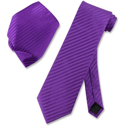 Vesuvio Napoli Purple Striped NeckTie & Handkerchief Mens Neck Tie Set