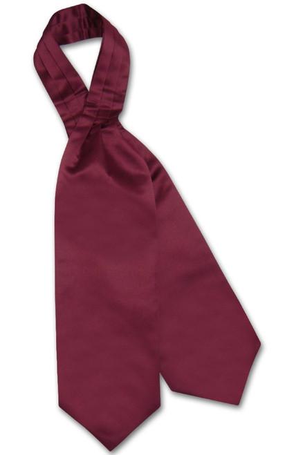 Burgundy Cravat Tie | Vesuvio Napoli Mens Solid Color Ascot Cravat