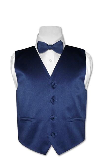 Covona Boys Dress Vest Bow Tie Solid Navy Blue BowTie Set size 4