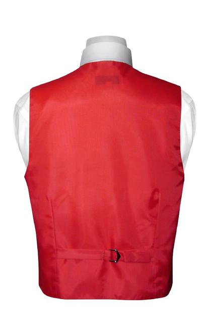 Boys Dress Vest NeckTie Solid Red Color Neck Tie Set