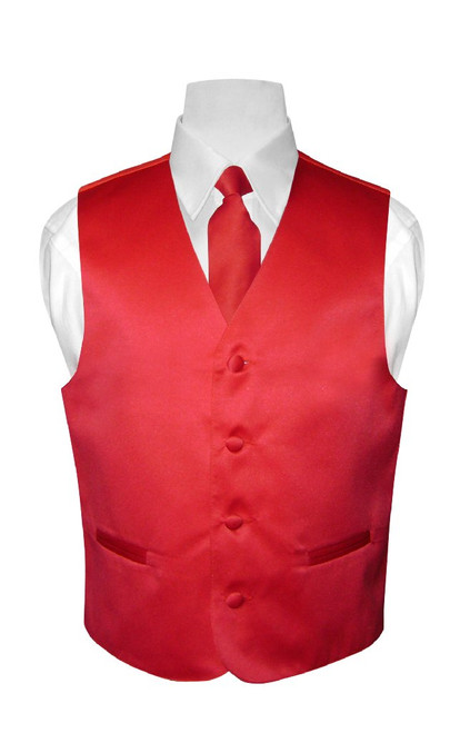 Boys Dress Vest NeckTie Solid Red Color Neck Tie Set