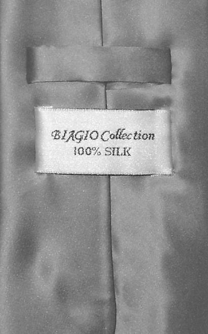 Biagio 100% Silk NeckTie Solid Charcoal Grey Color Mens Gray Neck Tie