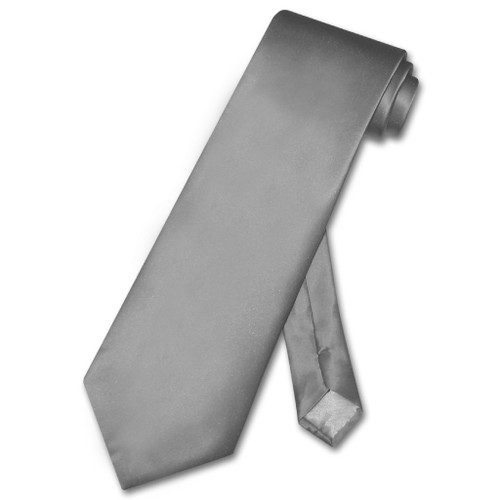 Biagio 100% Silk NeckTie Solid Charcoal Grey Color Mens Gray Neck Tie