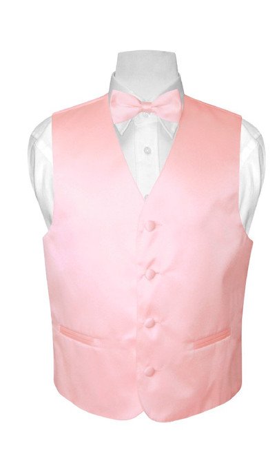 Boys Dress Vest Bow Tie Solid Pink Color BowTie Set
