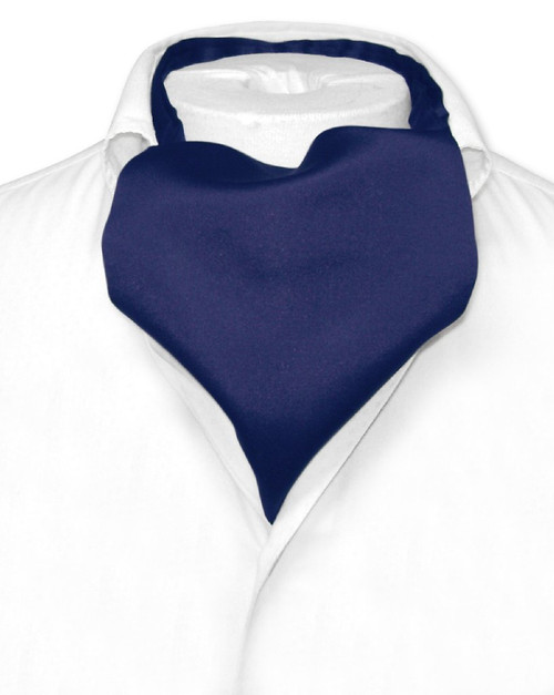 Navy Blue Cravat Tie | Vesuvio Napoli Mens Solid Color Ascot Cravat