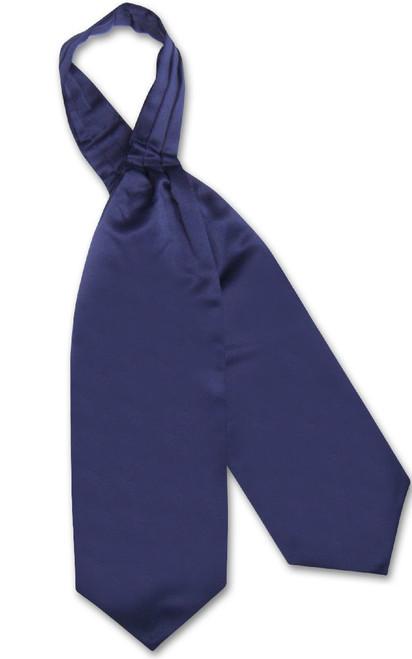 Navy Blue Cravat Tie | Vesuvio Napoli Mens Solid Color Ascot Cravat