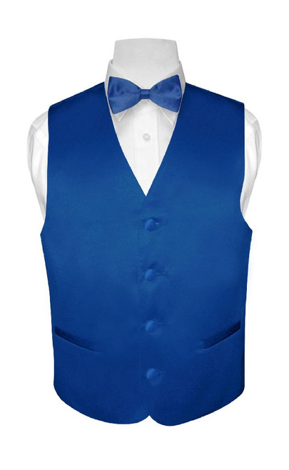 Boys Dress Vest Bow Tie Solid Royal Blue Color BowTie Set