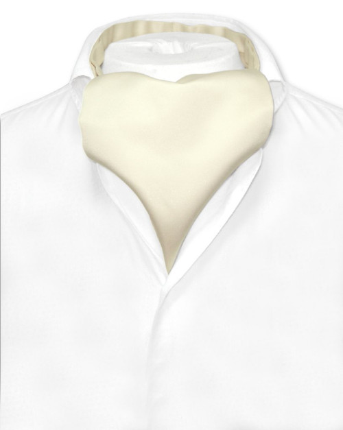 Cream Cravat Tie | Vesuvio Napoli Mens Solid Color Ascot Cravat Tie