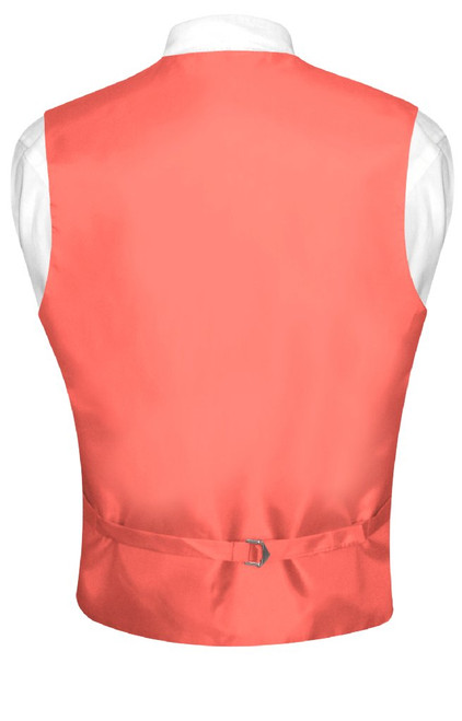 Coral Vest And Tie | Solid Color Coral Pink Vest And NeckTie Set