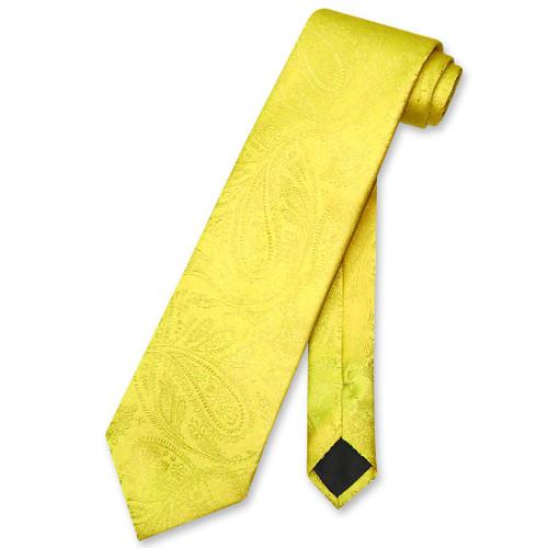 Vesuvio Napoli NeckTie Yellow Color Paisley Design Mens Neck Tie