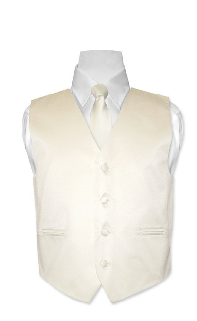 Covona Boys Dress Vest NeckTie Solid Cream Neck Tie Set size 14