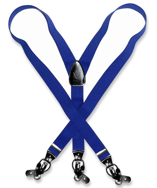 Mens Solid Royal Blue Suspenders Y Shape Back Elastic Button & Clip