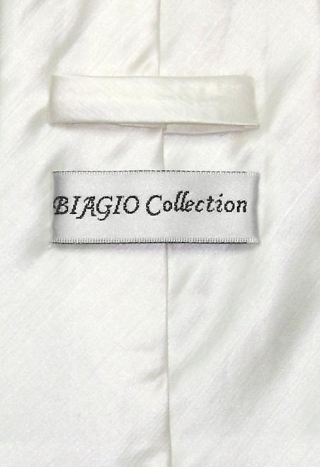 Biagio Mens Off-White Bamboo Silk Dress Vest Neck Tie Set sz XL
