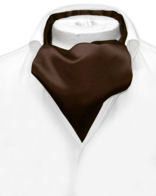 Chocolate Brown Cravat Tie | Vesuvio Napoli Mens Solid Color Ascot