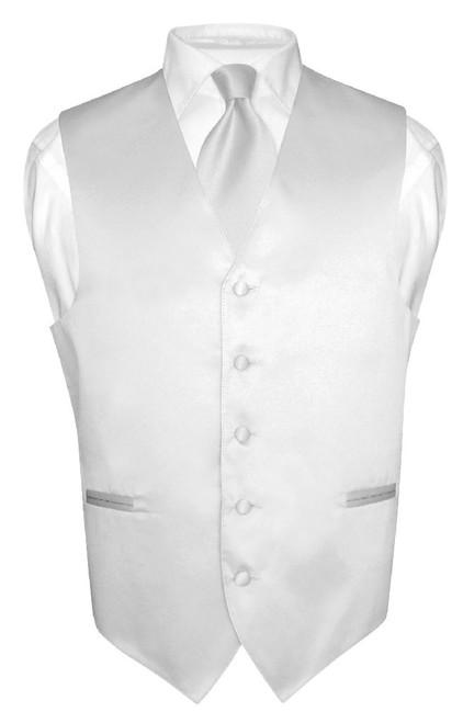 Mens Dress Vest & NeckTie Solid Silver Gray Neck Tie Set