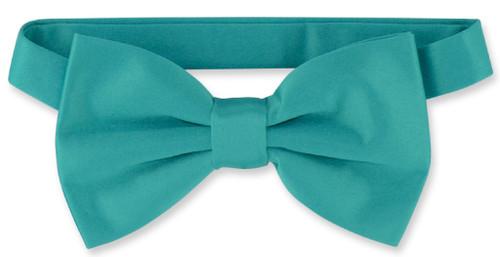 Vesuvio Napoli BowTie Solid Teal Color Mens Bow Tie