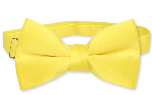 Vesuvio Napoli Boys BowTie Solid Golden Yellow Color Youth Bow Tie