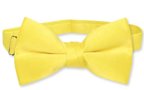 Vesuvio Napoli Boys BowTie Solid Golden Yellow Color Youth Bow Tie