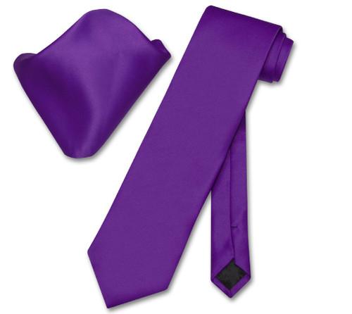Vesuvio Napoli Solid Purple Indigo NeckTie Handkerchief Mens Tie Set