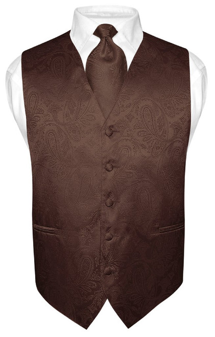 Brown Paisley Tie And Paisley Brown Necktie Set For Men
