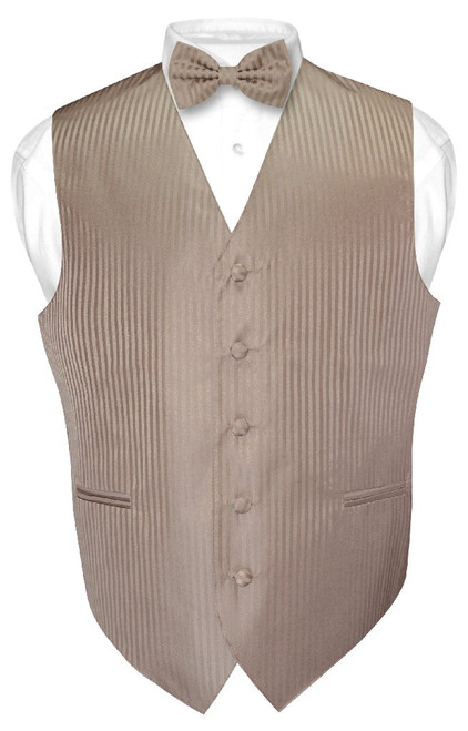 Mens Dress Vest BowTie Mocha Light Brown Vertical Striped Bow Tie Set