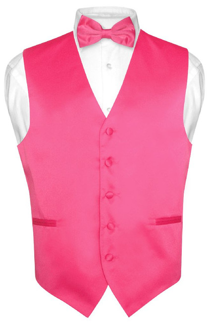 Mens Dress Vest And BowTie Hot Pink Fuchsia Color Bow Tie Set