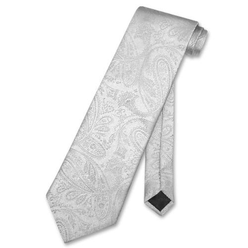 Vesuvio Napoli NeckTie Silver Grey Paisley Design Mens Gray Neck Tie