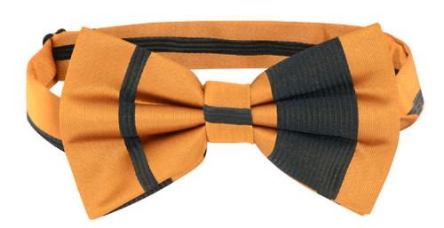 Vesuvio Napoli BowTie Gold & Black Woven Striped Design Mens Bow Tie