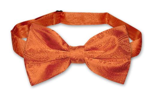 Vesuvio Napoli BowTie Burnt Orange Color Paisley Mens Bow Tie