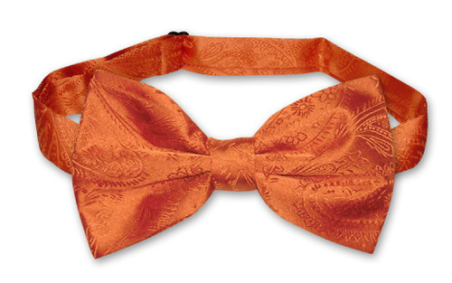 Vesuvio Napoli BowTie Burnt Orange Color Paisley Mens Bow Tie