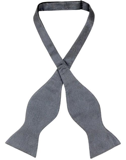 Vesuvio Napoli Self Tie Bow Tie Charcoal Grey Paisley Mens BowTie