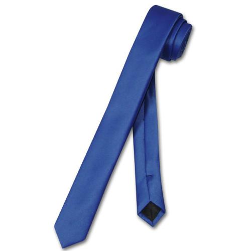Vesuvio Napoli Narrow NeckTie Extra Skinny Royal Blue Mens Neck Tie