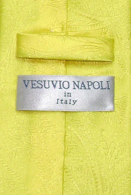Vesuvio Napoli Yellow Paisley NeckTie & Handkerchief Mens Neck Tie Set