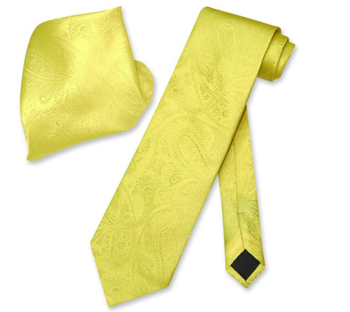 Vesuvio Napoli Yellow Paisley NeckTie & Handkerchief Mens Neck Tie Set